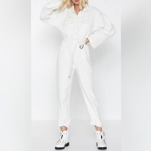 NWT: Nasty Gal White Denim Jumpsuit